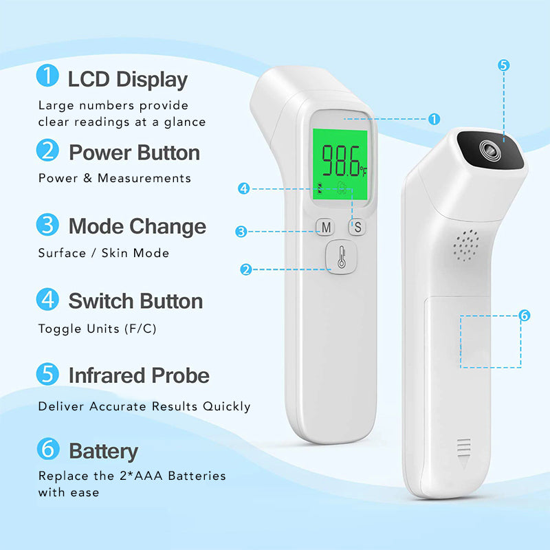 Infrared Portable No Contact Digital Thermometer Gun LCD Screen Electronic Accuracy Sensor Probe Fever Alerts