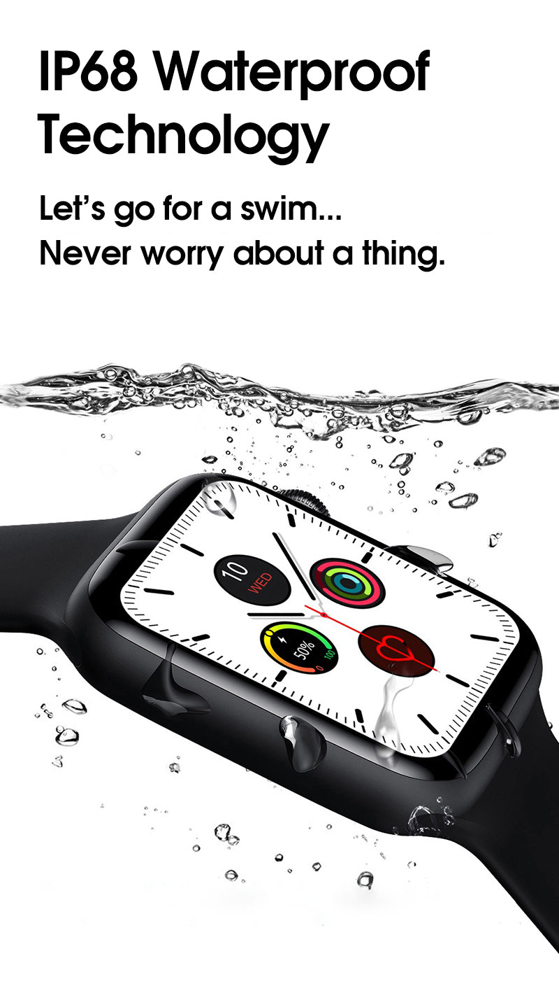 iSport 6 Smart Watch Infinity Vision Size Full Screen Super Retina Display IP68 Waterproof Safe Dry Worry Free Technology