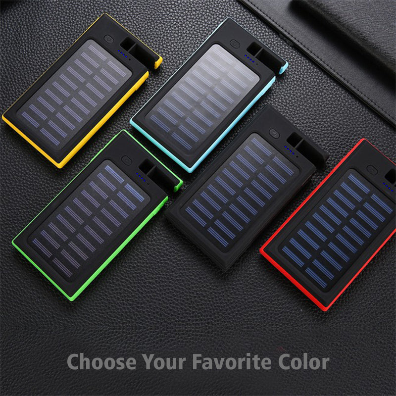 Portable Wireless Waterproof USB Solar PowerBank Battery Pack Charger iPhone Power Bank Phone Holder Five Different Colors Choose Your Favorite Color