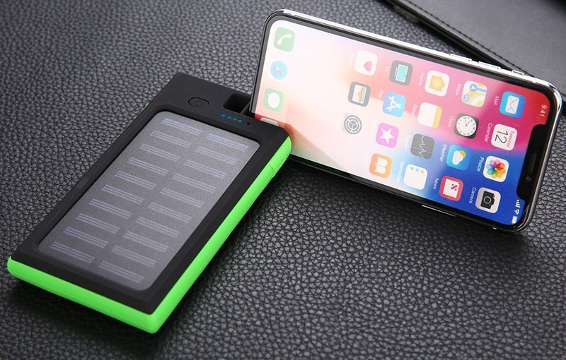 Portable Wireless Waterproof USB Solar PowerBank Battery Pack Charger iPhone Power Bank Phone Holder Built-In Mobile Device Holder