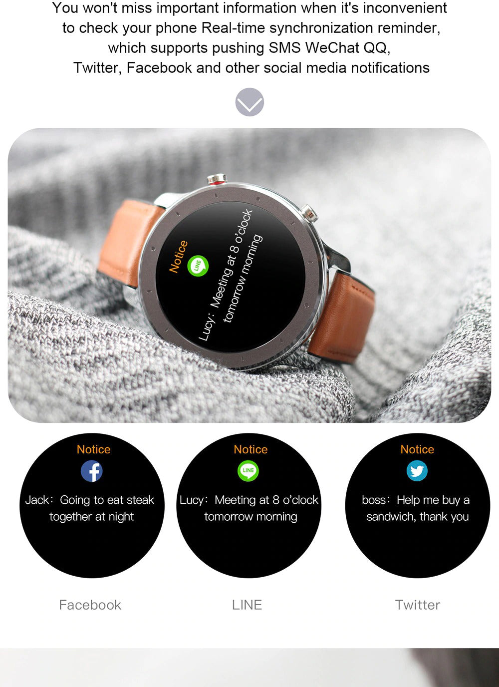 X9 Beretta Smart Watch SMS WeChat Facebook Twitter Social Media Notifications