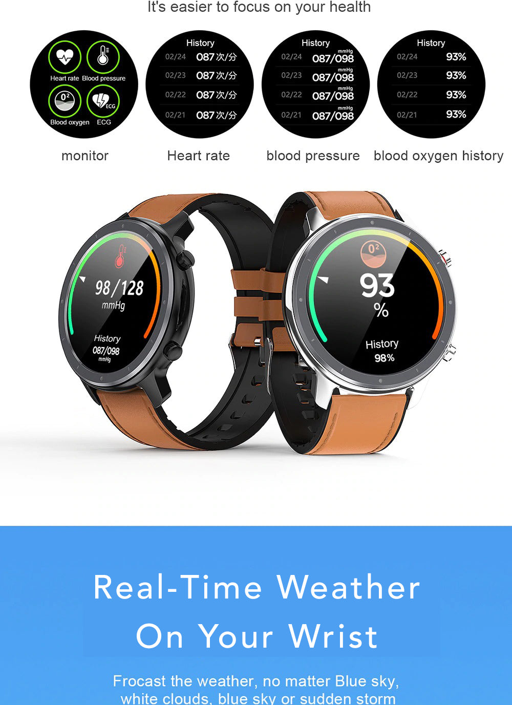 X9 Beretta Smart Watch Real Time Weather On Your Wrist