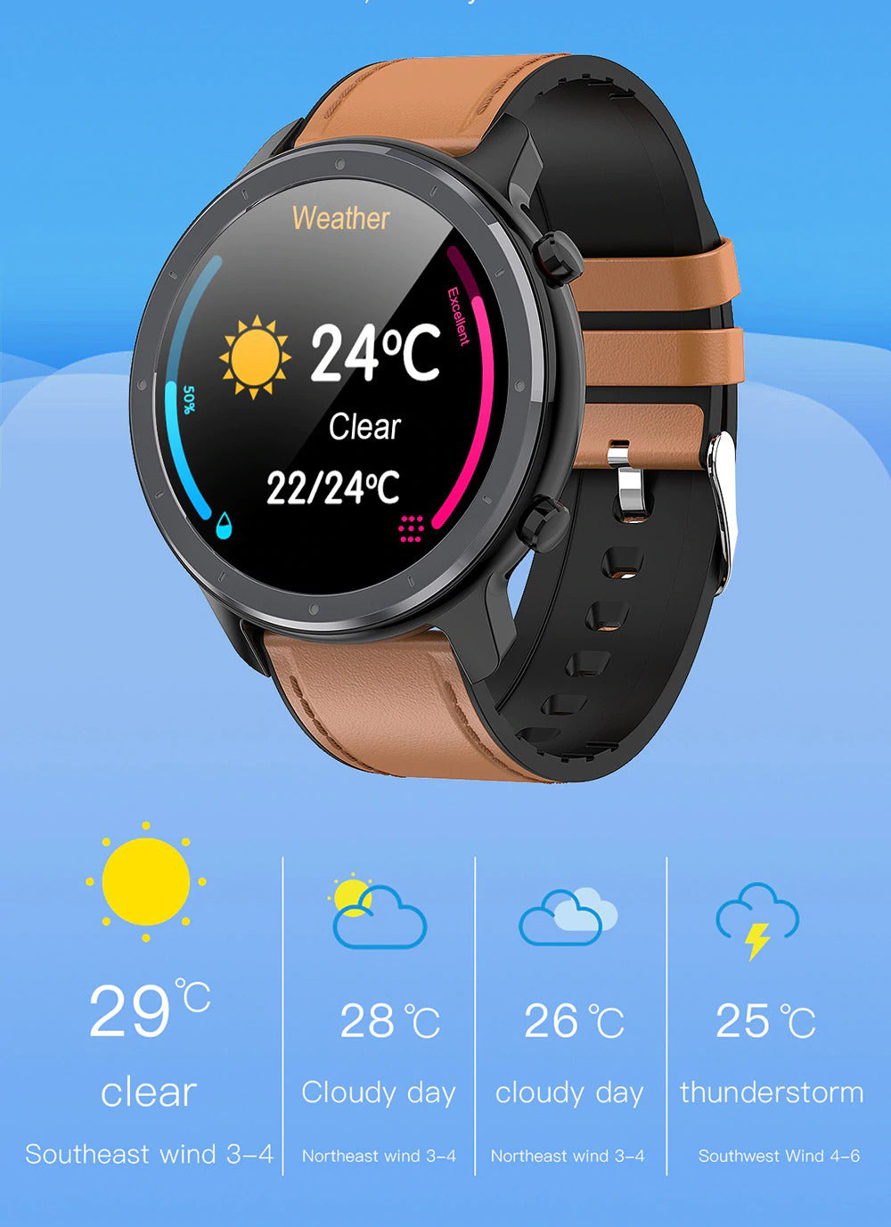 X9 Beretta Smart Watch Real Time Weather Updates