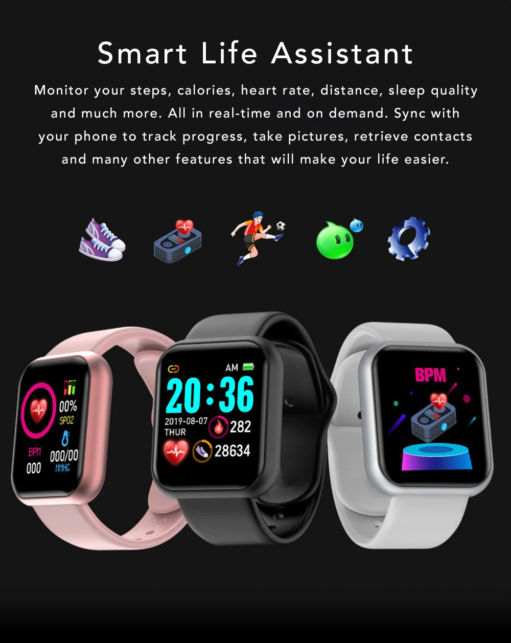 iSport Bluetooth Smart Watch SMS HD Touch Screen Sports Exercise Track Lifestyle Smart Life Assistant Monitor Calories Heart Rate Sleep Quality