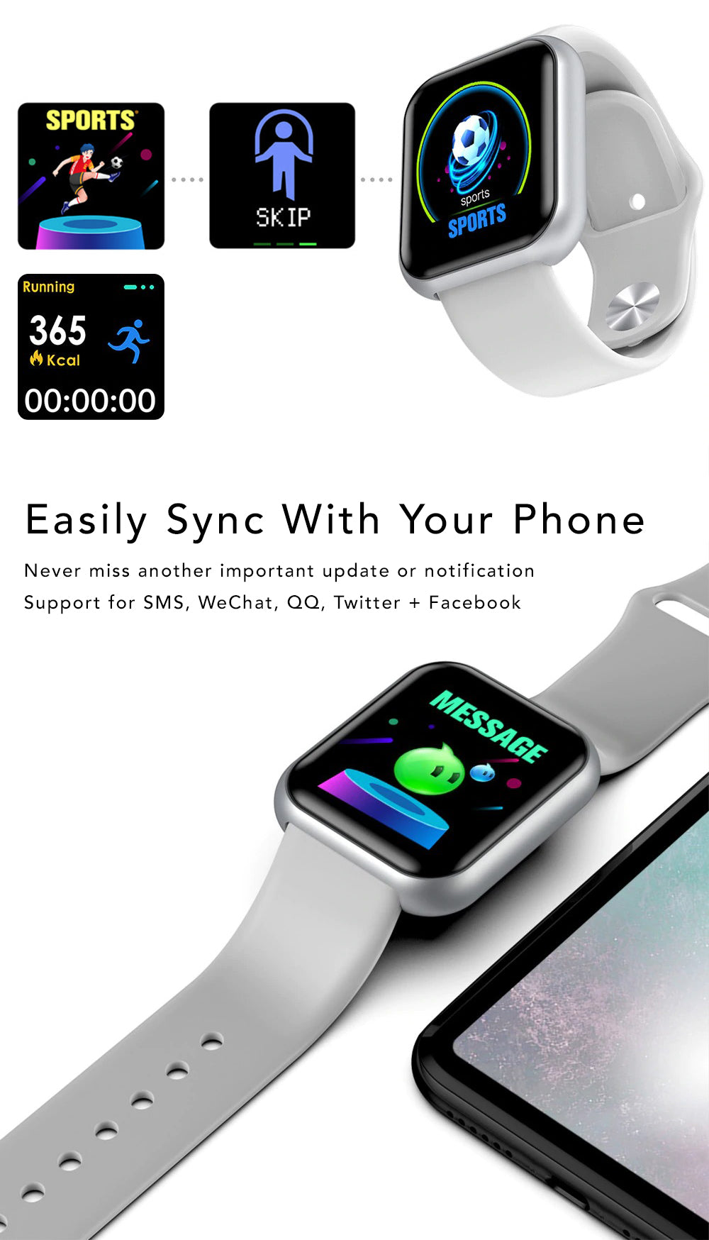 iSport Bluetooth Smart Watch SMS HD Touch Screen Sports Exercise Track Lifestyle Easily Sync Phone Never miss another important notification