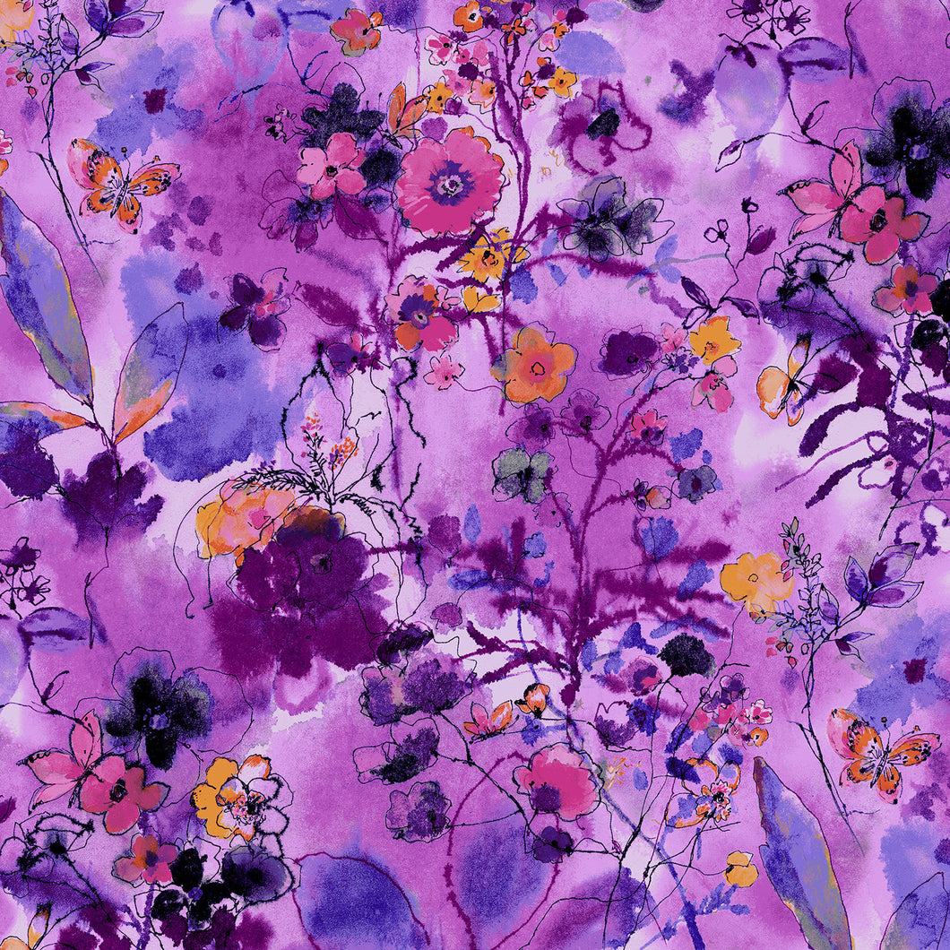 Bloom Bloom Butterfly - Wild Meadow - Orchid Fabric from Cotton and Steel