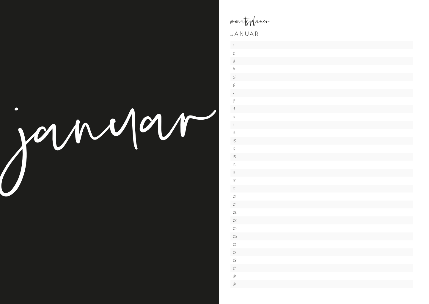 Kalender 2021, Digital to Print