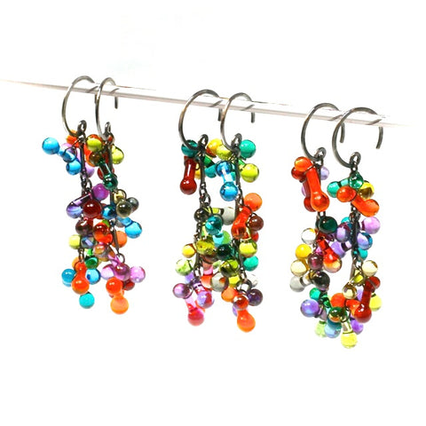 Long Grape Cluster Earrings