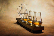 Load image into Gallery viewer, 4 Glass Whiskey Flight Oak Stave. Whisky Gifts and Accessories