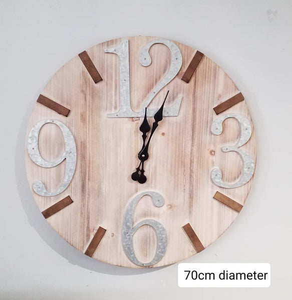 Wooden/metal wall clock...available to purchase in store only