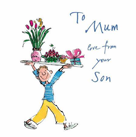 Mum Love From Your Son Quentin Blake Mother's Day Card At Penny Black
