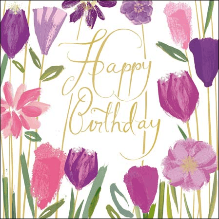 Happy Birthday Amongst the Flowers Greeting Card