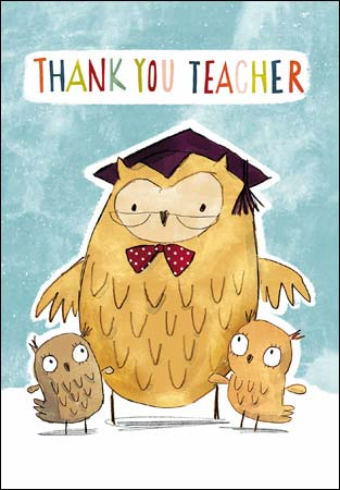 Thank You Teacher Owl Greeting Card