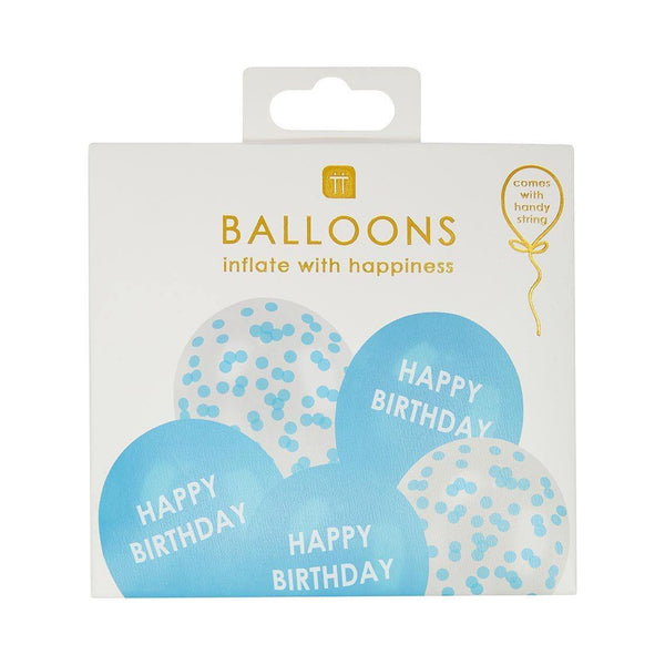 Blue Happy Birthday Latex Balloons Set