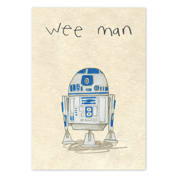 Wee Man R2D2 Greeting Card