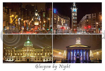 Glasgow By Night Postcard Greeting Card