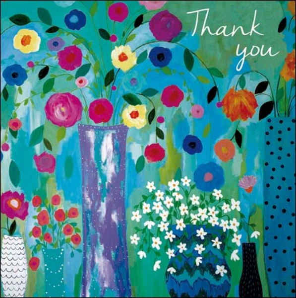 Painted Floral Thank You Card 5 Pk