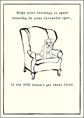 Dog Sat In Chair Greeting Card