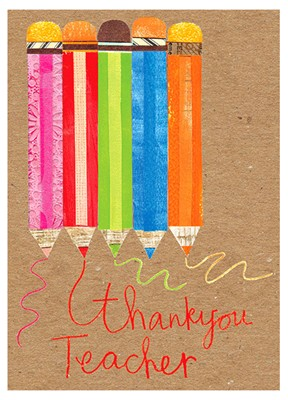 Thank You Teacher Pencils Greeting Card