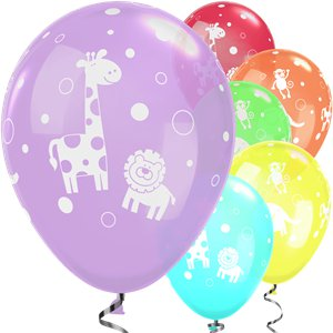 Jungle Animals 11 Latex Balloons 6 Pack Balloons