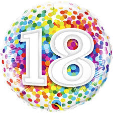 18th Rainbow Confetti Foil 18 Balloon Balloons