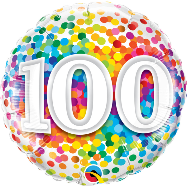 100th Rainbow Confetti Foil 18 Balloon Balloons