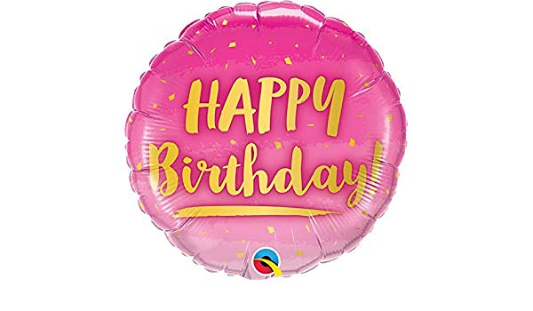 Birthday Gold & Pink Foil 18 Balloon Balloons