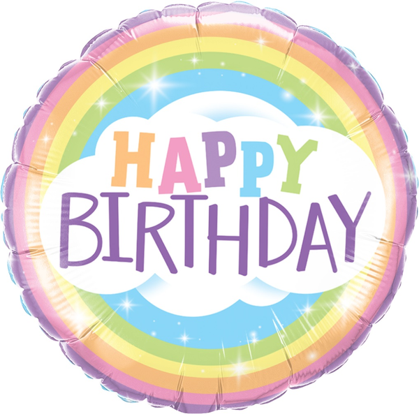 Birthday Pastel Rainbow Foil 18 Balloon Balloons