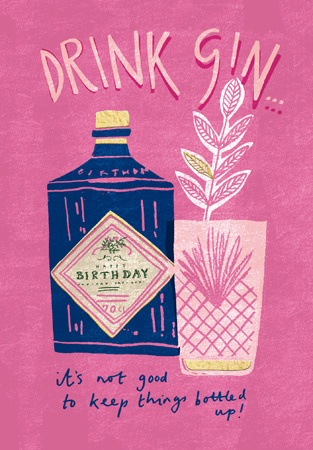 Happy Birthday Gin Bottled Up Greeting Card