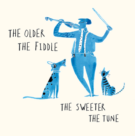 LI Older Fiddle Greeting Card