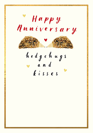 Anniversary Hedgehugs & Kisses Greeting Card