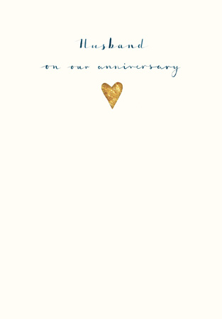 Anniversary Husband Gold Heart Greeting Card