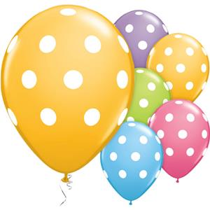 "Assorted Big Polka Dots Balloons 11"" Latex 6 Pack Balloons"