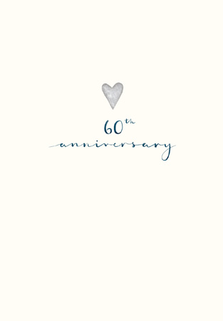 60 Anniversary Silver Heart Greeting Card