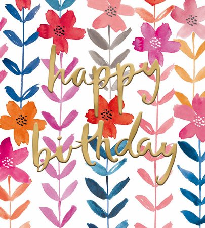 Happy Birthday Flower Sprigs Greeting Card