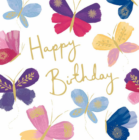 Happy Birthday Colourful Butterflies Greeting Card