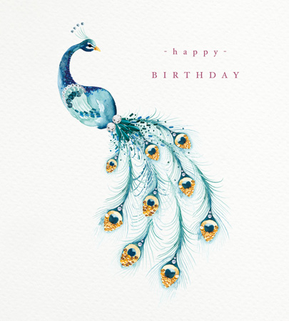 Happy Birthday Sequin Peacock Greeting Card
