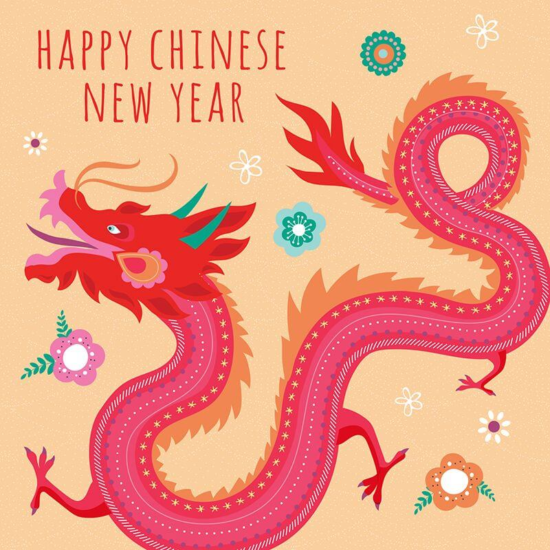 Chinese New Year Red Dragon Greeting Card