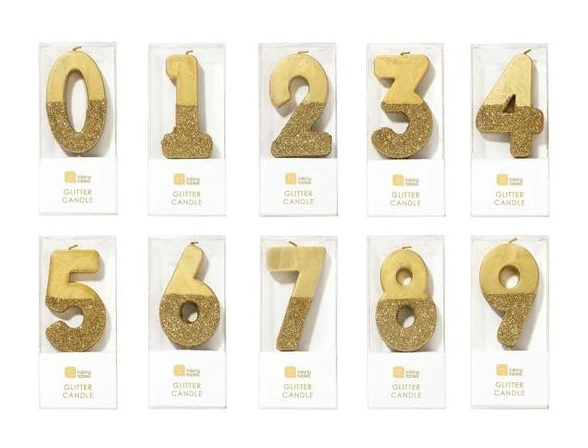 Gold Glitter Number Candle Candles
