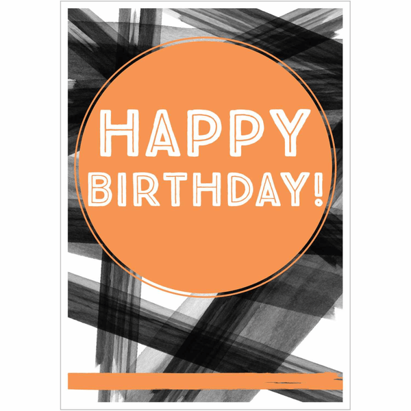 Happy Birthday Brush Strokes Greeting Card