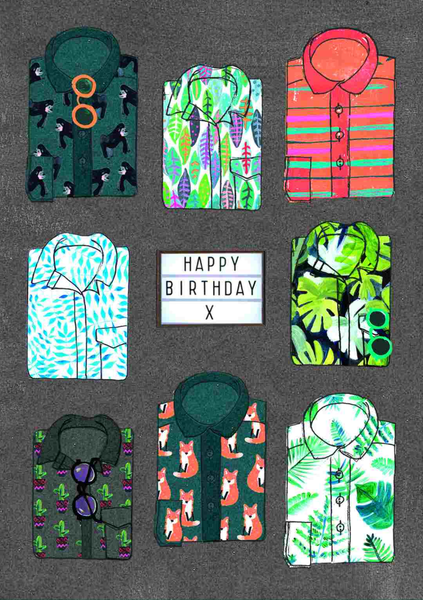 Happy Birthday Shirts Greeting Card