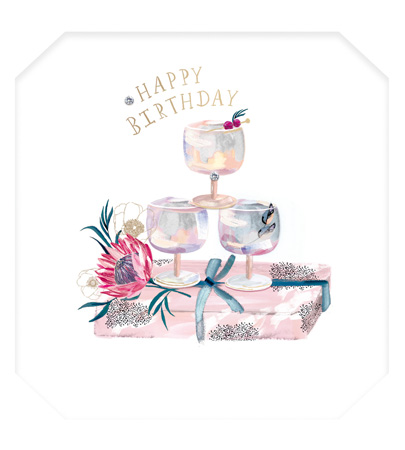 Happy Birthday Cocktail Tower Greeting Card