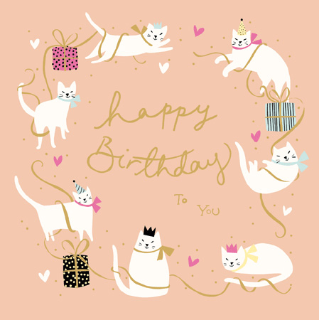 Happy Birthday Cat Party Greeting Card