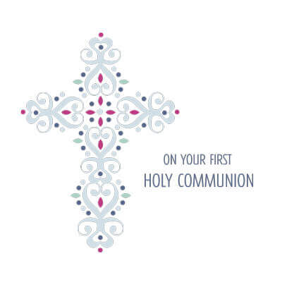 First Holy Communion Jewelled Cross Greeting Card