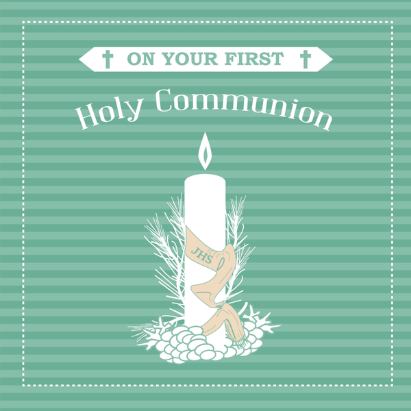 First Holy Communion Candle Greeting Card