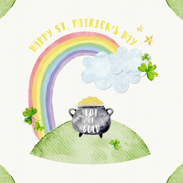 St Patricks Pot Of Gold Greeting Card