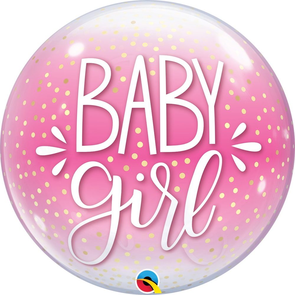 Baby Girl Confetti Bubble Balloons