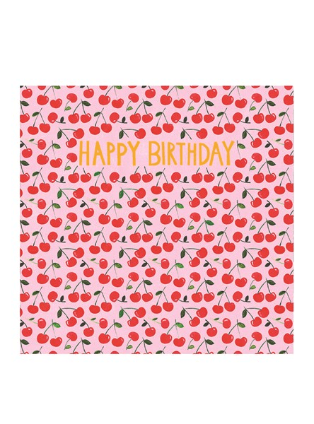 Happy Birthday Cherries Greeting Card