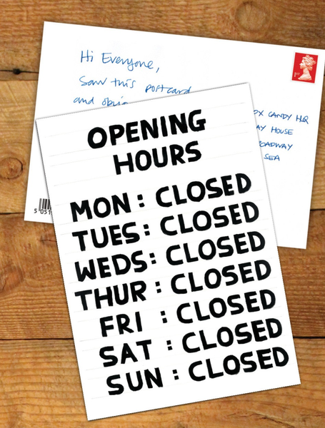 Opening Hours Postcard Greeting Card