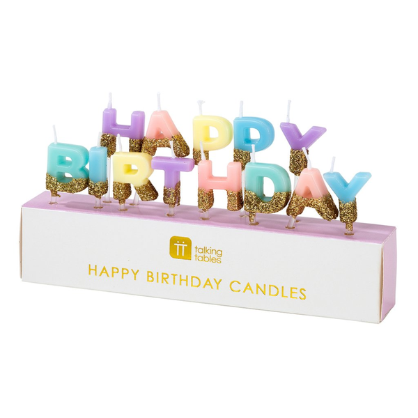 Happy Birthday Pastel Glitter Candles Candles
